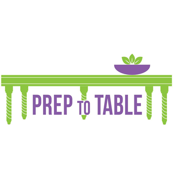 logo for Prep to Table showing a green kitchen table with a plant on it