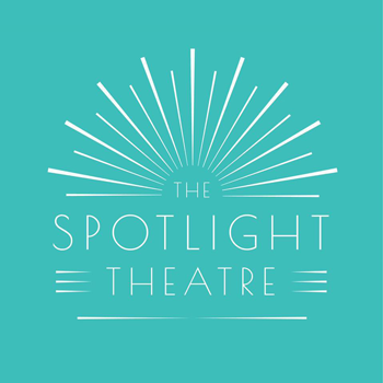 logo for The Spotlight Theatre showing white light radiating from a center point on a teal background